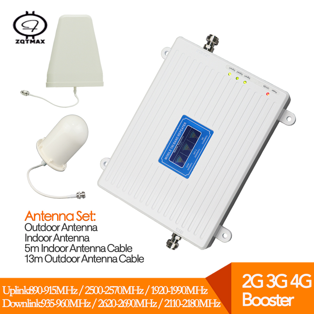 Powerful 3G 2100MHz 4G 2600MHz Signal Booster Tri Band Cell Phone  Repeater 2G Amplifier UMTS 2100 LTE 2600 With Antenna