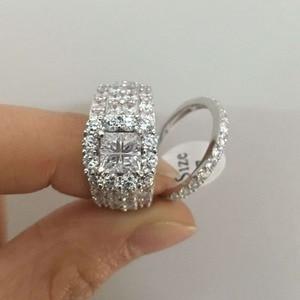 Image 5 - Newsheハローの結婚指輪 4 カラットクロスカットaaaジルコニアクラシックジュエリー 925 スターリングシルバーの婚約指輪セット