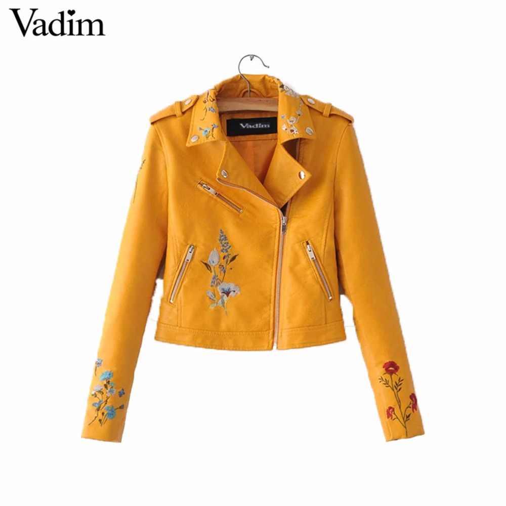 Frauen blume embroridery PU leder jacken mantel epaulet long sleeve zipper taschen jacke damen mode streetwear tops CT1436