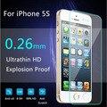 Vidrio en el iphone 5s protectora 9 h 2.5d ultra thin explosión protector de pantalla de vidrio templado a prueba para iphone 5 5c 5s guardia