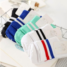 NEW Classic Women Girls Two Stripes Cotton Socks Retro Old School Student