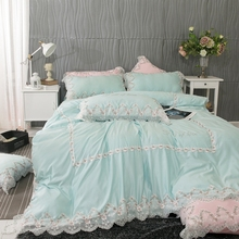 Luxury Light Green Pink 100% Cotton Flower Lace Princess Girl Bedding Set Queen King Duvet Cover Bed sheet Linen Pillowcases