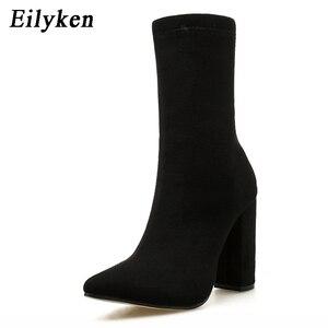 Image 2 - Eilyken 2020 חדש פלוק קרסול מגפי נשים לסתיו חורף אופנה מחודדת הבוהן העקב רוכסן אישה מגפי צ לסי בתוספת גודל 35 42