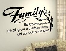 Free Shipping Quotes Family tree saying Wall Stickers Home Decoration Decals Removable Vinyl decals BF-9 57x98cm