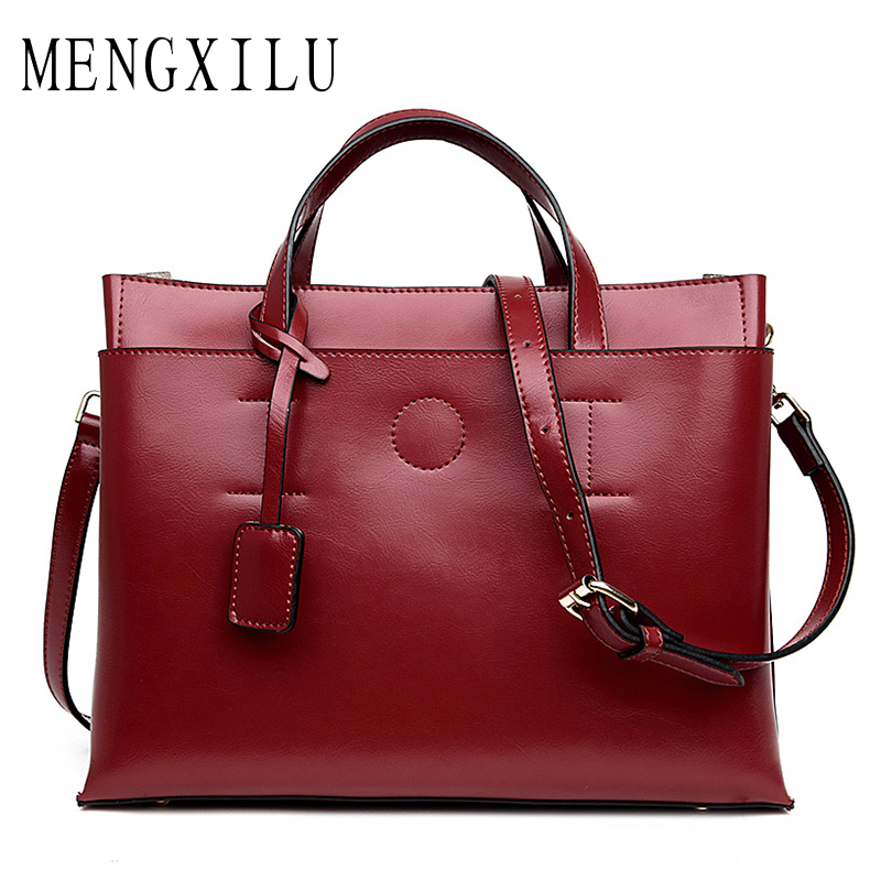 MENGXILU Brand Genuine Leather Bag Women Sheepskin Luxury Handbags Women Bags Designer Ladies Shoulder Bags Famous Sac Femme New ladies genuine leather handbag 2018 luxury handbags women bags designer new leather handbags smile bag shoulder bag