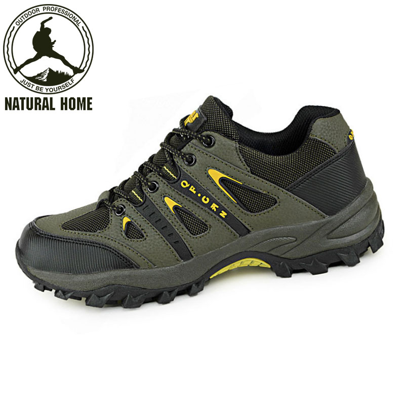 ФОТО NaturalHome Outdoor Professional Hiking Shoes Men Women Leather Skid Waterproof Hiking Shoes Climbing Shoe Boots