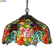 FUMAT Stained Glass Pendant Lights Rose Flower Tiffany Hanglamp E27 LED Hanging light fixture suspension luminaire Lamps