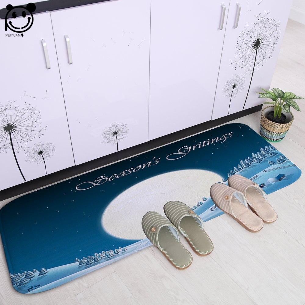 PEIYAUN tapis de porte intérieur doux mignon père noël et lune flanelle tapis de toilette Tapete tapis de sol pour salle de bain 61x183