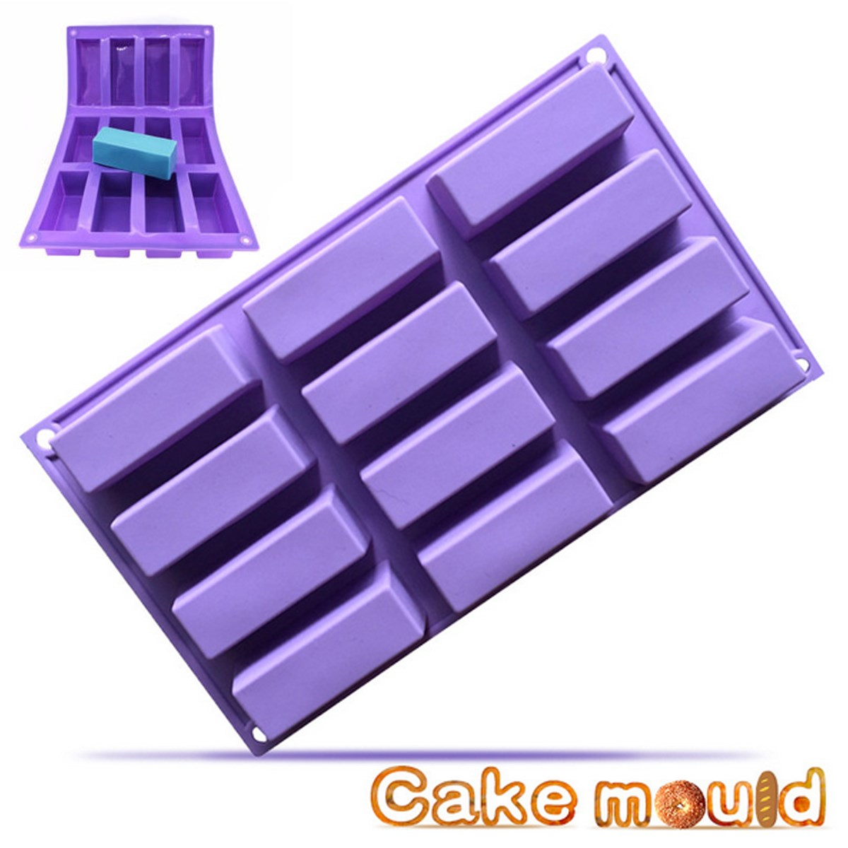 12 Cavity Rectangle Bar Soap Baking Ice Mold Silicone Mould Tray Home Craft SG
