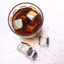 Ventas calientes 4 Unids/lote Piedras Whisky Vino Cerveza Enfriador piedra Piedra del Cubo de Hielo de Acero Inoxidable