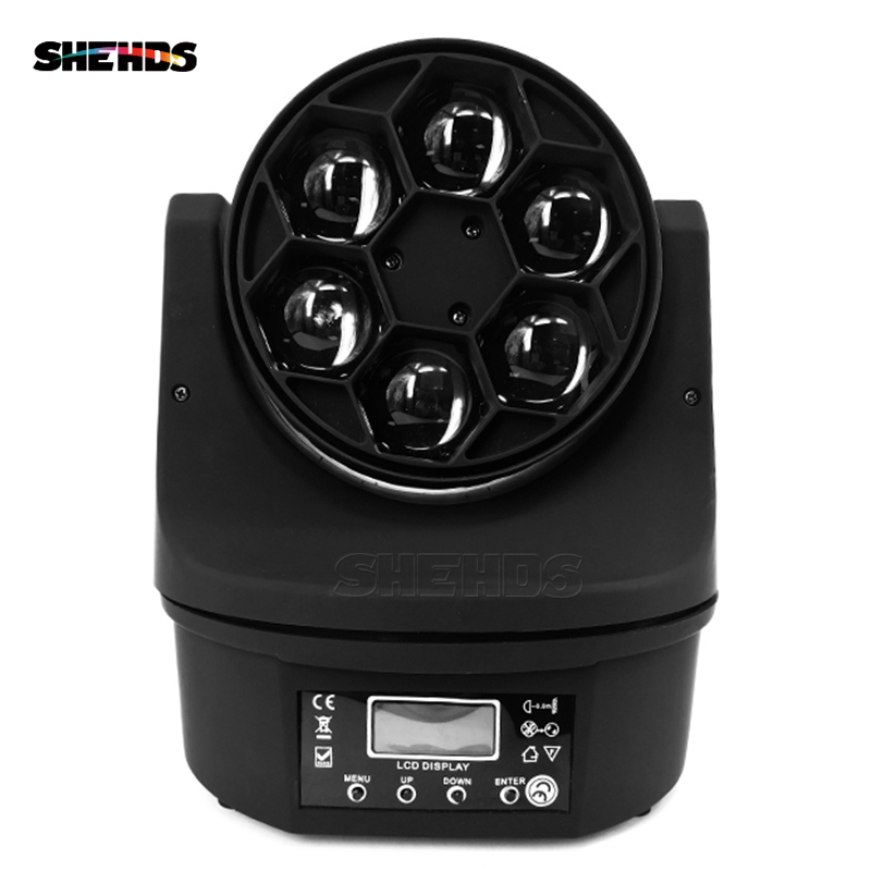 (2pcs) Mini Bee Eye Led Moving Head Light Beam 6x15W Quad with high power 90W 11/14channels Dimmer