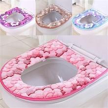 Bathroom Flower Pattern Warmer Closestool Pad Washable Toilet Seat Lid Cover Mat