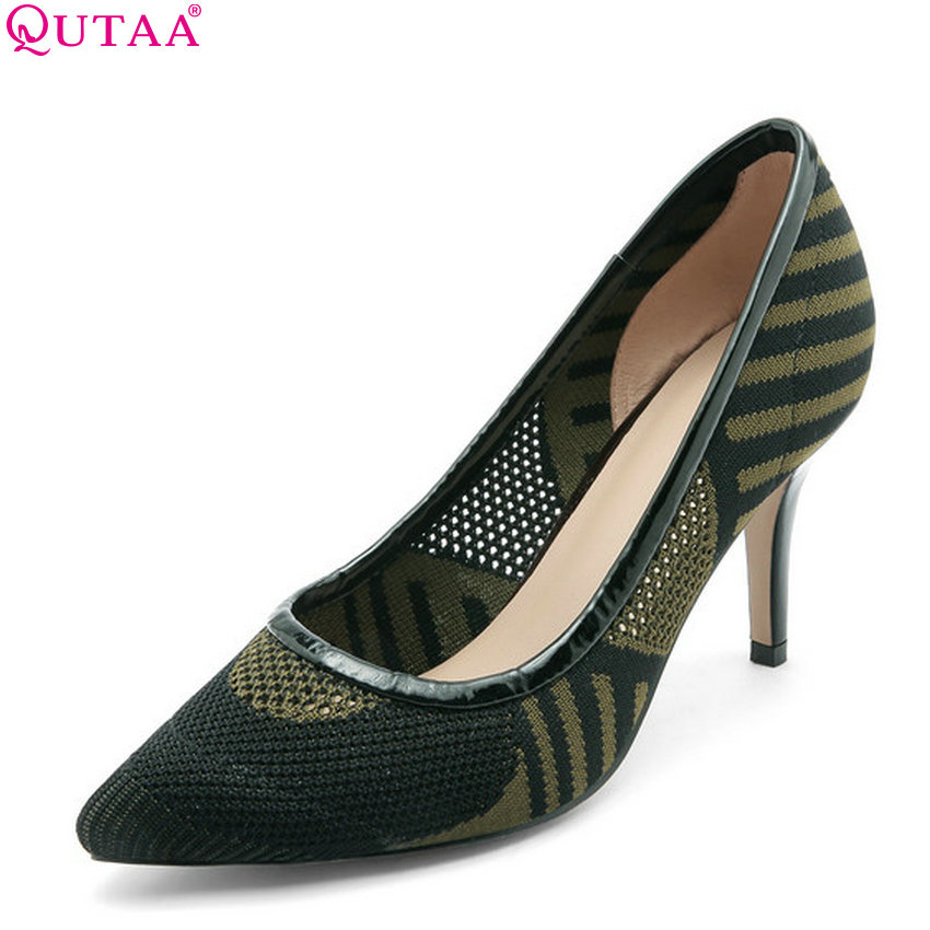 QUTAA 2018 Women Pumps Wedding Pointed Toe Thin High Heel Shallow Spring/autumn Slip on Casual Sexy All Match Shoes Size 34-39 enmayer spring autumn women fashion wedding pumps shoes rhinestone beading pointed toe slip on thin heels large size 34 43 white