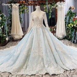 HTL618 бальное платье вечернее платье с длинными рукавами из тюля с круглым вырезом ручной работы кружевное длинное вечернее платье 2019 vestido de ...