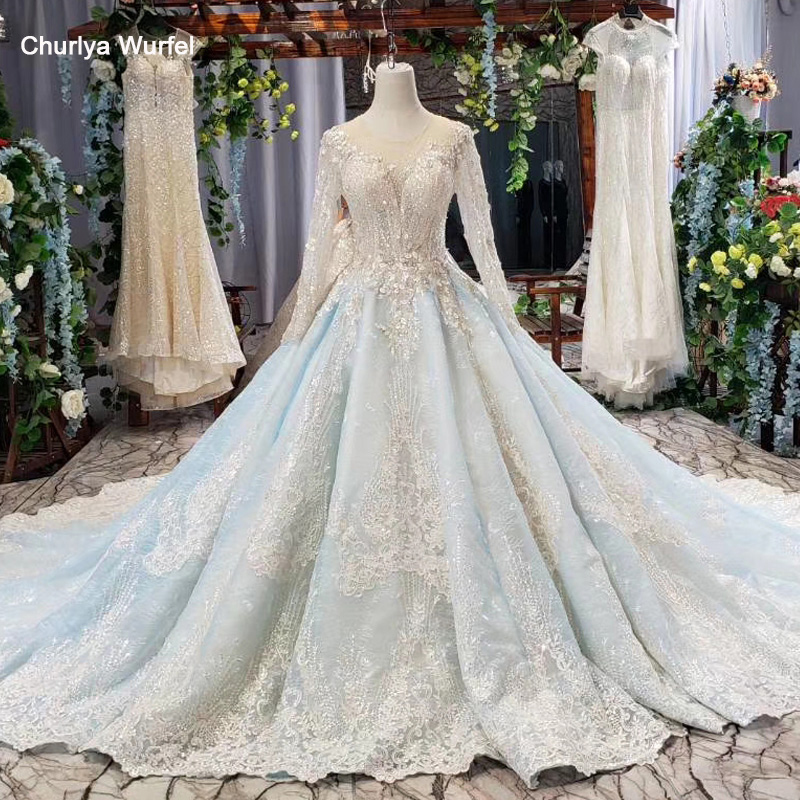 HTL618 Ball Gown Evening Dress Long Sleeve Tulle O Neck Handwork Lace Long Evening Gowns 2019 Vestido De Festa Longo Azul Claro