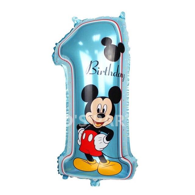 1 Pc Joyeux Anniversaire Bleu Mickey Feuille Ballon 30 Numero Un 1