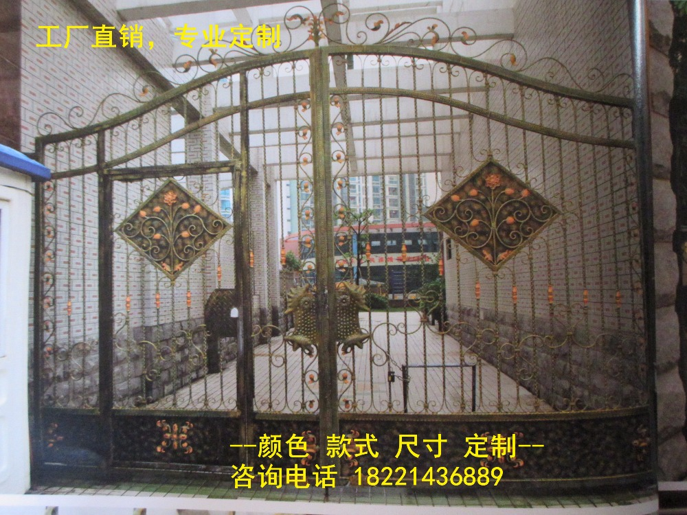 Custom Made Wrought Iron Gates Designs Whole Sale Wrought Iron Gates Metal Gates Steel Gates Hc-g72