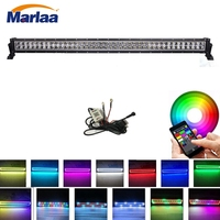 42 Inch 240w Straight Led Light Bar with Chasing RGB halo ring Strobe Flashing Spot Flood Combo Beam Free wiring harness