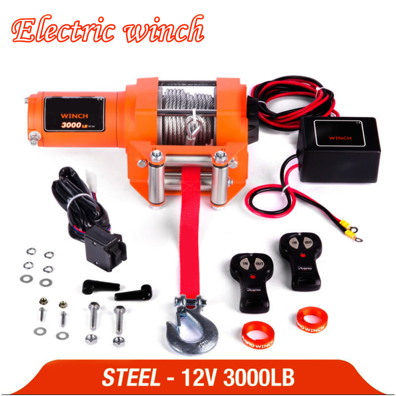 Winch Car 12v Remote Control Set Electric Winch 3000lb Heavy Duty ATV Trailer 15 High Tensile Steel Cable Electric Winch