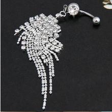 Long Tassel Navel Beads Dangle Pendant Button Belly Ring