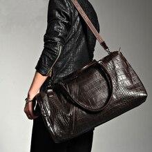 e2beff9f5d88 Burminsa Brand Vintage Crocodile Duffle Bags Men s Weekend Travel Bags  Designer Handbags High Quality Overnight Shoulder