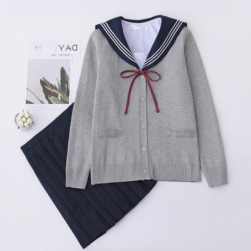 UPHYD Winter Sailor Suit School Uniform Sets JK School Uniforms For Girls White Shirt And Long Skirt Student Cosplay Costume