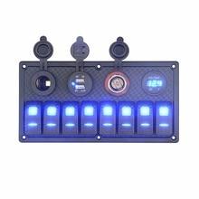 Eléctrico e Iluminación 8 Gang Marine Caravana Panel Rocker Switch USB Voltímetro Interruptores A Prueba de agua