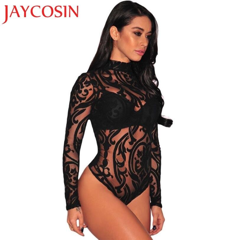 Woman Long Jumpsuit Lace Floral Patchwork Long Sleeve Bodysuit S-XL Mesh Romper