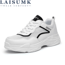 LAISUMK New Spring Fashion Lady Casual White Shoes Women Sneaker Black Leisure Thick Soled Flats Cross-tied Lace Up Soft