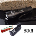E17  XM-L T6 3800Lumens cree led Torch Zoomable cree LED Flashlight Torch light+18650 4200 mah Rechargeable Battery+Charger
