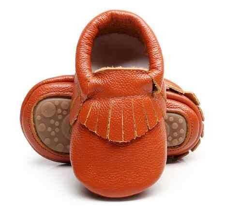 Hongteya מכירה לוהטת מוצק אמיתי עור תינוק מוקסינים בעבודת יד פרינג 'בייבי רך גומי תחתון עבור בנות בני 0-4 שנים