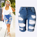 S-XXXL 2017  Women Denim  Shorts Summer New Slim Skinny Ripped Hole Burrs Cut Off High Waist Knee Length Hot Jeans Plus Size