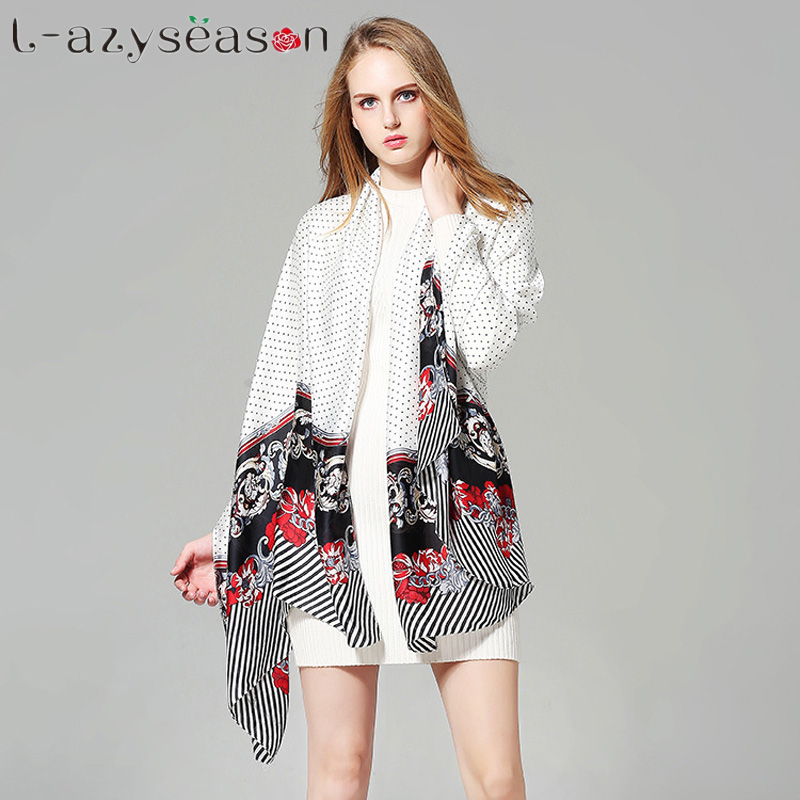 2018 Luxury brand Silk Scarf New women big size Fashion print Scarves Shawls Wraps Summer Beach Stole Bandana Female Foulard