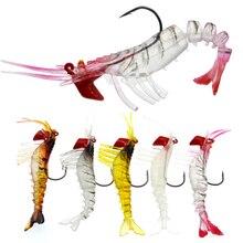1 adet yumuşak karides balıkçılık Lures yapay karides yemler 8cm/10.5g renkler yumuşak cazibesi biyonik yem kurşun kanca