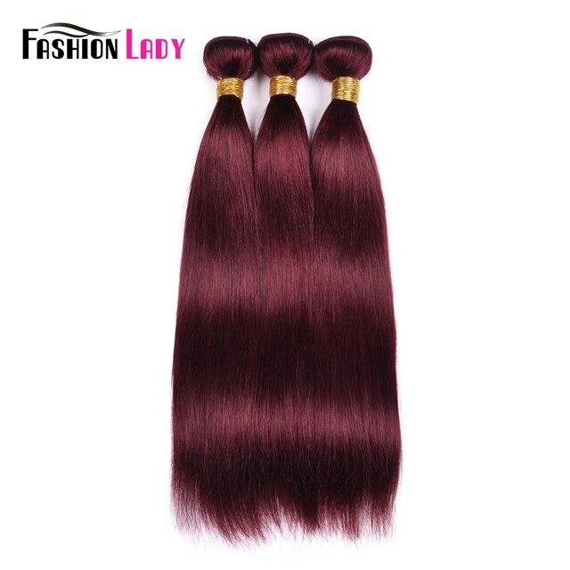 Mechones de cabello brasileño rojo a la moda para mujer, mechones de pelo liso 99j, 1/3/4 unidades por paquete, extensiones de cabello no remy