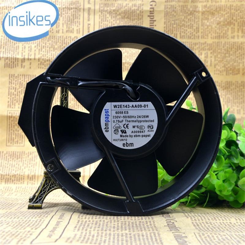 W2E143-AA09-01 Double Ball Bearing Cooling Fan AC 230V 24W/26W 3300RPM 50/60HZ 17251 172*172*51mm 17cm