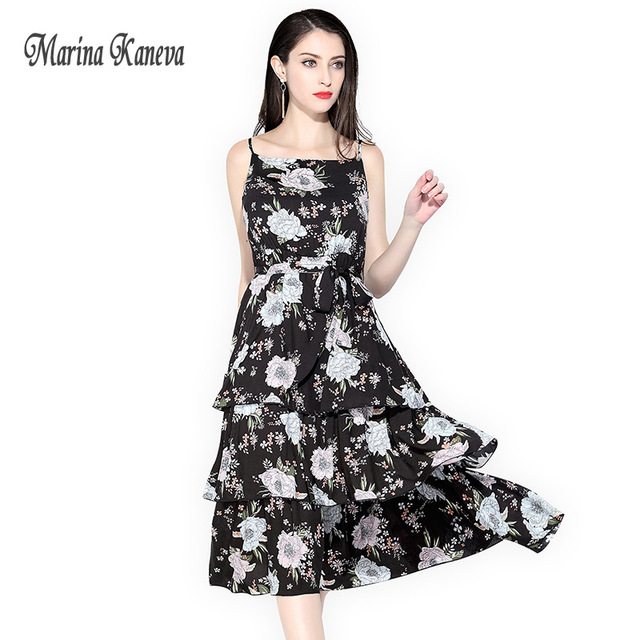 64a418e22dfe9 US $28.99 50% OFF|Mori Girl Summer Dress 2018 print dress sexy summer Black  Sexy Spaghetti Strap Vestidos Casual Beach Dress Women Floral Print-in ...