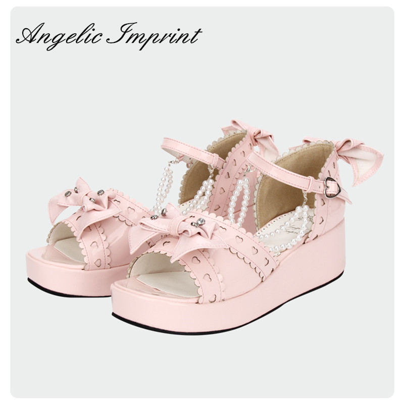 Lovely Sweetheart Bowknot & Pearl Chain Princess Girls Summer Sandals Ankle Strap Sweet Lolita Wedge Shoes PINK lovely smilling kitty face faux wooden wedge lolita shoes ankle strap sweet pink girls shoes