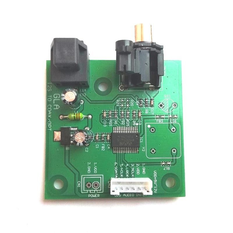 I2S To SPDIF Coaxial Fiber Output Board/ IIS Input Coaxial DC 5V-12v Power Support Sampling 44.1K~192K