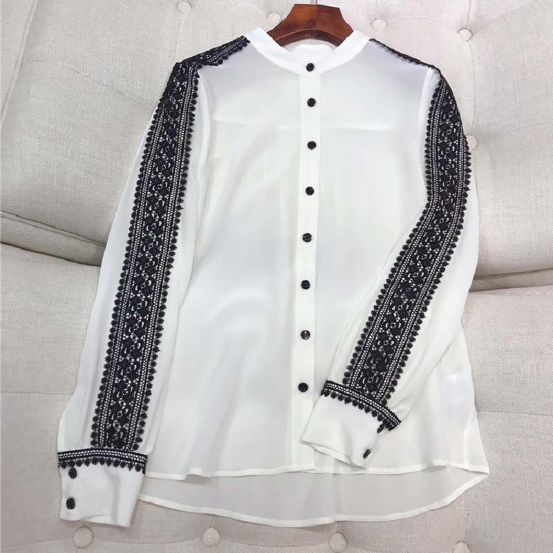 100% soie Blouse 2019 printemps été bureau chemises femmes noir dentelle Patchwork à manches longues élégant Blouse chemise femme hauts Blusas - 3