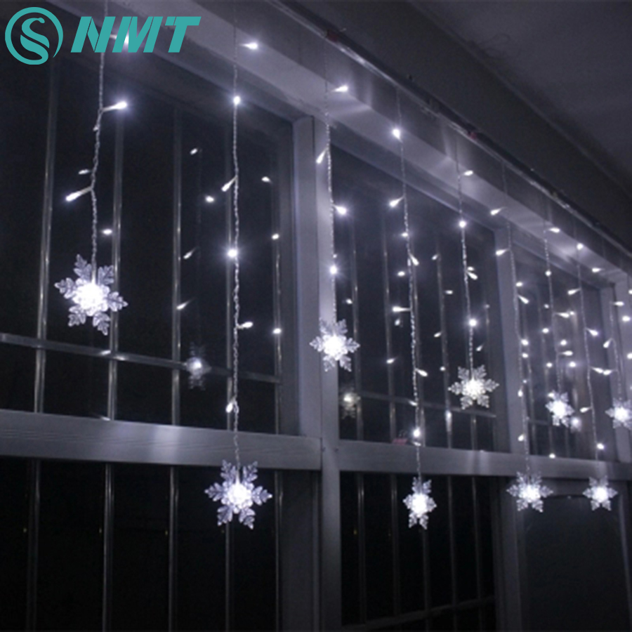 Holiday Lighting 3.5M 96 LED Snowflake Fairy Curtain LED String Lights Outdoor Christmas Lights For Home Party Xmas Decoration 5m 28leds snowflake led string lights christmas holiday lighting for the curtain bedroom party wedding decoration