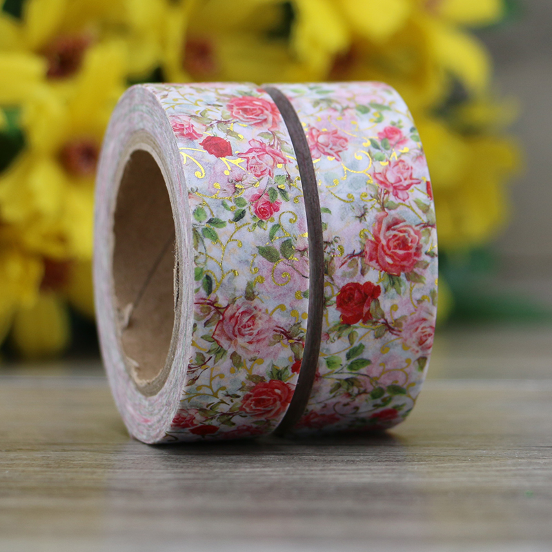 1X Red Flower Foil Washi Tape Japanese Paper 10m Kawaii Scrapbooking Tools Masking Tape Photo Album Decorative Stationery Tapes