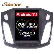 Android 7.1 Grand Écran Tesla style Voiture Lecteur DVD GPS Navigation Pour Ford Focus 2012-2017 Auto navi stéréo headunit multimédia