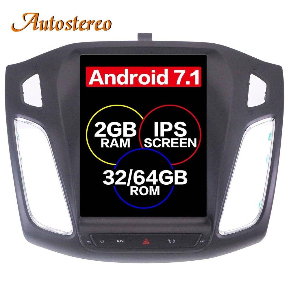 Android 7.1 Grande Schermo Tesla style Car DVD Player di Navigazione GPS Per Ford Focus 2012-2017 Auto navi stereo headunit multimedia