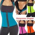 Del entrenamiento hot body shaper tummy control de fajas para mujeres de neopreno con cremallera dos lados son usables fitness chaleco que adelgaza el corsé