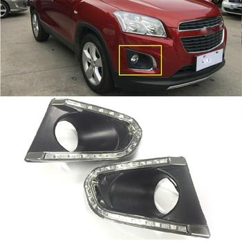 Led Daytime Running Lights for Trax 2014 2015 fog lamp cover 12V headlight  ABS DRL with yellow turn signal lights accessories