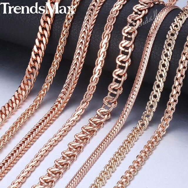 Trendsmax ожерелье для женщин и мужчин 585 розовое золото бордюр Улитка Лисохвост звено цепи золотое ожерелье 2018 модное ювелирное изделие 50 см 60 см GNN1