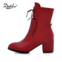 Daitifen 2017 New Arrival Square Heel Female Footwear Neutral Lace Up Ankle Boots Soft Winter Boots Skid Proof Woman Short Boots