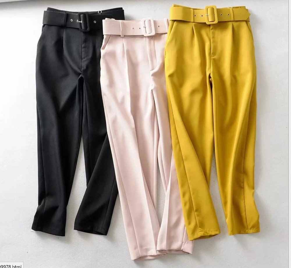 2019 Za black suit pants Women high waist sashes trousers FLOWY PANTS with pockets offiec ladies pants Track Pants