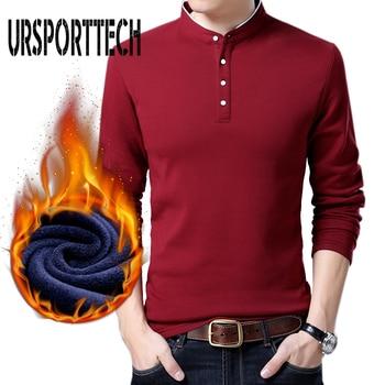 Мужская кашемировая рубашка-поло, с длинным рукавом, теплая, утепленная, большого размера, для осени и зимы, M-3XL